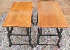 Antique Industrial Style Cast Iron / Metal & Wood End Tables - Old School Desks?