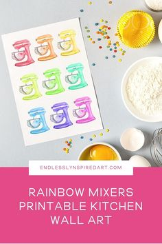 Download this grid of rainbow colored KitchenAid-style stand mixers and add a fun pop of color to your kitchen. #endlesslyinspiredart Colorful Kitchen Decor, Kitchen Wall Colors, Kitchen Prints, Kitchen Wall Art, Stand Mixers, Free Printable Art, Gifts For My Wife, New Gadgets, Kitchenaid