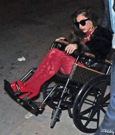 Of Course Lady Gaga Has A Louis Vuitton Wheelchair~ Those velvet tights just rock! Also while her chair is pretty it looks old school in terms of handling and like it would hard to wheel yourself around in. Those tights though! ❤️