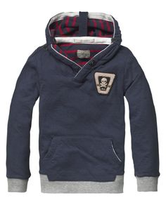 Sweater with roll-up hood construction - Sweats - Scotch & Soda Online Shop