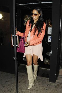 LaLa Anthony's Serendipity Theory Leather Biker Jacket, High-Low Shirt Dress, and Givenchy Nude Leather Shaft Boots