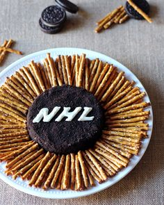 Hockey Themed Dessert Peanut Butter Oreo Puck Dip