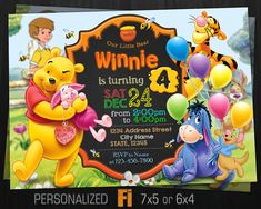 Winnie the Pooh Invitation Winnie the Pooh Birthday Party