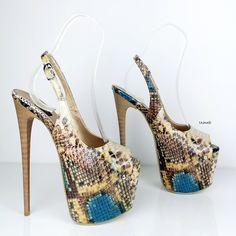 Hot High Heels, Thick Heels, High Heels Stilettos, Stiletto Heels, High Platform Shoes, Open Toe Sandals, Crazy Shoes, Ankle Straps, Snake Print