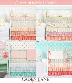 Our Top 5 Colors Trends for Nursery Design - check out all the gorgeous baby bedding with coral, gold, mint, aqua and pink!