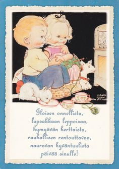 Mabel Lucie Attwell card  knitting ary dog cat boy girl