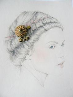 Barrette Textile Soie,Pince Crocodile Métal Bronze, Tissu Kaki/Marron,Style ethniqque : Accessoires coiffure par maj