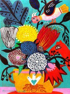 New Bohemian Art Painting Inspiration Artists Ideas Flowers Illustration, Illustration Art, Butterfly Art, Flower Art, Bohemian Art, Guache, Arte Floral, Naive Art, Illustrations