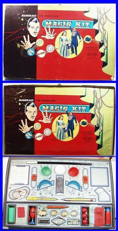 Vintage 1949 MANDRAKE THE MAGICIAN Magic Kit by Transogram, nice early set!