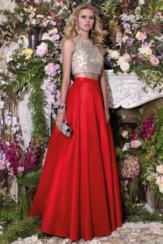 Prom Dresses Evening Dresses by Alyce piece ball dress, gorgeous sheer illusion bodice with gems and an elegant puffy skirt. Prom Dresses 2016, Ball Gown Dresses, Formal Dresses, Vestidos Con Crop Top, Indian Dresses, Indian Outfits, Crop Top Elegante, Red A Line Skirt, Mode Style