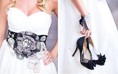 Black & White Wedding Accessories Blush Pink And Black Wedding, Black White Wedding Dress, Wedding Dreams, Dream Wedding, Bride Book, Bridal Fashion, White Fashion, Bridal Accessories, Bridal Style
