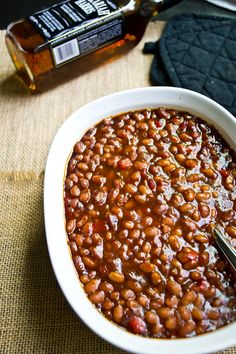 Bourbon #BBQ Baked Beans recipe {onions, bell peppers, brown sugar, molasses, Worcestershire...}