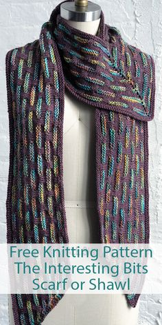 Free Knitting Pattern for The Interesting Bits Scarf or Shawl – Two color scarf knit sideways in a 16 row repeat slipped stitch pattern that creates vertical dashes of color. A shawl option is also available bordered with this design. Shawl Patterns, Knitting Patterns Free, Free Knitting, Baby Knitting, Knitting Scarves, Knitted Baby, Knitted Shawls, Knitted Blankets, Sweaters Knitted