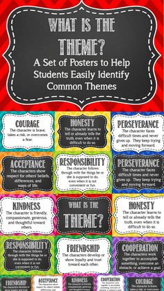 themes: Friendship Responsibility Courage Perseverance Kindness Acceptance Cooperation Honesty Easy to print and display! Reading Lessons, Reading Strategies, Reading Skills, Teaching Reading, Math Lessons, Teaching Language Arts, Teaching English, English Teachers, Teaching Literature
