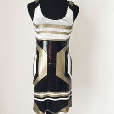 """Beluah Style Sequin Geometric Dress Beluah Style Geometric Sequin bodycon dress in white, gold and black.  This dress is stunning!  NWT, never worn!  Retail $136.           Measurements laying flat: Armpit to armpit: 14"""" Waist: 13"""" Hips: 15"""" Total length: 34"""" Beluah Style Dresses"""