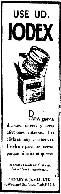 1931 - Anuncio de Iodex - Curioso, lo recomendaban para afecciones cutáneas. Anuncio publicado en el Informador Guadalajara, Jalisco México