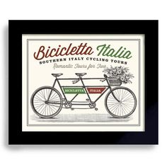 This vintage style bicycle print will cheer up room. This print has a warm cream color which is part of it's quirky charm. Available in 8x10. Does not include the frame. Printed on heavy 110 lb. cream color paper. Your print will be packaged in a clear plastic sleeve, with a rigid cardboard envelope to protect the print. $20