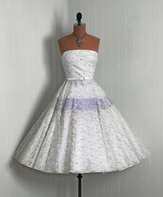 1950's Vintage White Metallic and Lilac-Blue Shimmer Ballerina Style Dress