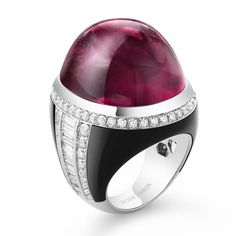 'Cabochon Parfum' ring with rubellite cabochon, diamond and onyx in white gold Boucheron Jewelry, Bijoux Art Deco, High Jewelry, Black Jewelry, Jewellery, Men's Jewelry, Modern Jewelry, Diamond Wedding Rings, Diamond Rings