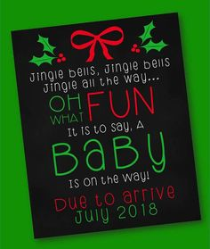 Announcement of the Christmas Pregnancy / Jingle Bells / Digital - Christmas . Birth Announcement Sign, Christmas Baby Announcement, Cute Pregnancy Announcement, Baby Announcement Pictures, Pregnancy Months, Pregnancy Info, Pregnancy Pictures, Third Baby, Everything Baby