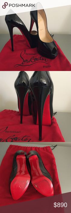 "Authentic Lady Peep Christian Louboutin 39 1/2 eu sizing RECOMMENDATION: size up (I normally wear size 8 I buy size 9-9.5 in CL) Black Patent Leather Red Sole bottoms 6 "" heel 1"" platform 150mm pitch sky high heels worn only on one occasion Christian Louboutin Shoes Heels"