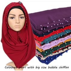 Nice Coloured pearl Big size high quality bubble chiffon plain shawls hijab winter muslim 20 color scarves/scarf 180*85cm