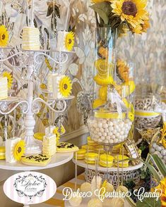 """Dolce Couture Candy on Instagram: """"Love isn't something you find... Love is something that finds you💛 Sofia🌻Michael's Wedding #candybar #candytable #candybuffet…"""" Sunflower Birthday Parties, Sunflower Party, Candy Table, Candy Buffet, Amy, Finding Yourself, Couture, Table Decorations, Wedding"""