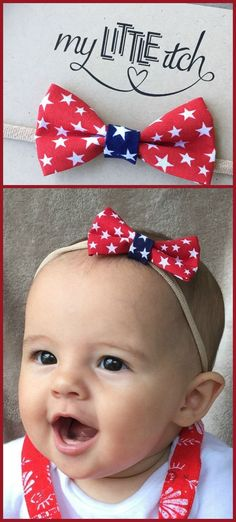 Patriotic Red and Blue Star Baby Headband Bow |  Perfect accessory to help you celebrate the 4th of July!  Each bow is attached to a nylon headband (nude, white, or black) that will stretch to fit any infant, toddler, or child.  #affiliatelink #ad #patriotic #baby #babygirl #bow #USA