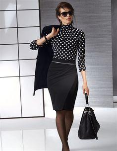 Damen Rollkragenshirt aus Viskose und Seide mit Tupfen in der Farbe schwarz / wollweiß - elfenbein - schwarz, weiß - im MADELEINE Mode Onlineshop