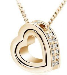 Interlocking Heart Necklace with Swarovski Elements - $10.00