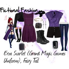 """""""Erza Scarlet (Grand Magic Games Uniform), Fairy Tail"""" by fictional-fashion on Polyvore"""