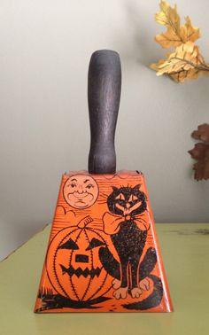 Vintage Halloween Tin Bell Noisemaker Antique Toy 1920s Black Cat Moon Man Jack O Lantern Made in USA~~
