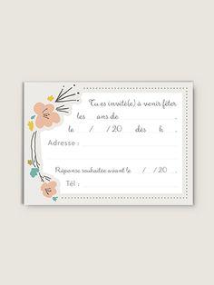 Petites Cartes d'anniversaire pour fille ou garçon Couronne Fleurie par lot de 10 avec enveloppes assorties.