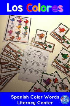 Los Colores Spanish Color Words task cards for literacy center activity also includes bulletin board posters