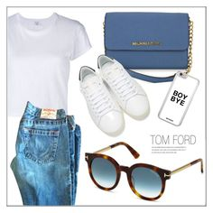 """""""OOTD"""" by smartbuyglasses ❤ liked on Polyvore featuring RE/DONE, Tom Ford, Michael Kors, Yves Saint Laurent, white and Blue"""