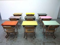 Japanese architecture firm Studio Schemata created flat surfaces on these vintage school desks by pouring color epoxy on the top board, which was uneven. Old School Desks, Old Desks, School Tables, Kids Furniture, Outdoor Furniture Sets, School Furniture, Desk Layout, Vintage School, Kid Spaces