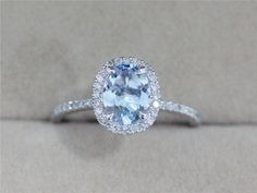 Elegant and beautiful! VS 6x8mm Blue Aquamarine Ring Solid 14K White Gold by AbbyandWills