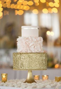 pink and gold wedding cake idea; photo: Erin Schrad Photography: