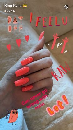 Kylie Jenner Nails Coral – The Best Nail Designs – Nail Polish Colors & Trends Coral Acrylic Nails, Nails Yellow, Best Acrylic Nails, Neon Orange Nails, Bright Coral Nails, Coral Orange, Neon Yellow, Ongles Kylie Jenner, Kylie Jenner Nails