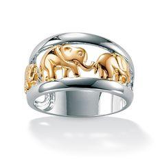 Anello elefanti dorati