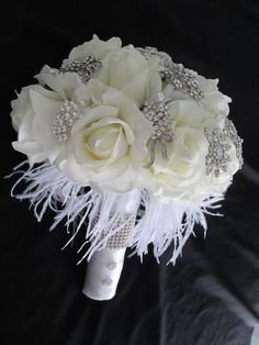 FREE SHIPPING.......Rhinestone Brooch and Great Gatsby White and Cream Bridal Bouquet Realtouch Roses Feathers on Etsy, $225.00