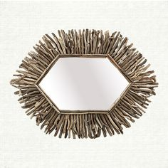 Hexagon Driftwood Mirror | Let subtle pops of nature warm your room with soft, reclaimed driftwood.