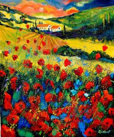 Poppies In Tuscany  Painting  - Poppies In Tuscany  Fine Art Print. Artist Pol Ledent.