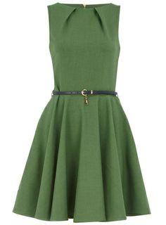 Green flared dress