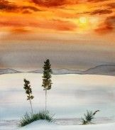 """LOTS OF HIS WATERCOLORS ON THIS LINK. A blazing farewell to the day is shown in this original watercolor """"Desert Sunset"""" By Philip Hilton"""