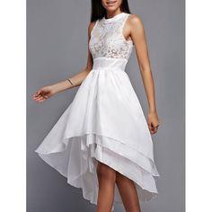 Lace Spliced Layered Asymmetric Midi Dress