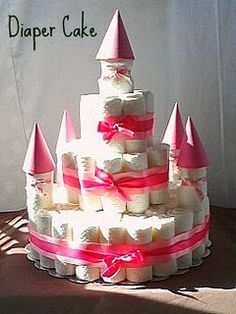 I've seen diaper cakes but this castle idea is just too cute for a girl