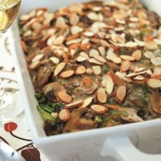 Chicken, Mushroom & Wild Rice Casserole:  In Minnesota, chicken, mushrooms and wild rice are often bound together in a casserole with cream of mushroom soup. We forgo the sodium-rich canned soup and make a light, creamy sauce that gets depth of flavor from dry sherry and Parmesan cheese. If you already have cooked chicken, use 4 cups and skip Step 2.