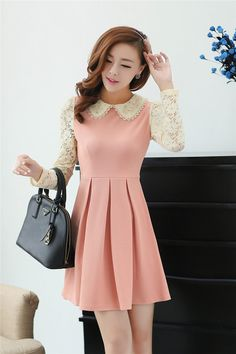 Dress DS3361 Pink + Belt #fashion #korea #olshop