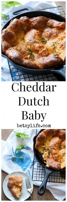 This Savory Cheddar Dutch Baby Recipe, is a simple side dish for dinner, or a great way to add a little bread to your breakfast. Vegetarian friendly!